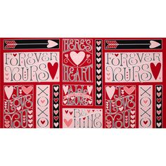 "I+Love+You+24""+Panel+Red from @fabricdotcom  Designed+by+Marie+Cole+for+Henry+Glass+&+Co.,+this+cotton+panel+is+perfect+for+quilting+and+home+decor+accents.++Colors+include+black,+white,+red+and+shades+of+pink.++This+panel+measures+approximately+24''+x+44''.+"