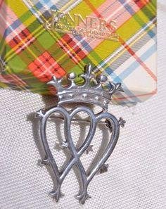 STERLING SILVER SCOTTISH LUCKENBOOTH DOUBLE HEART PIN BROOCH, THOMAS EBBUTT, BOX #ThomasKerrEbbutt