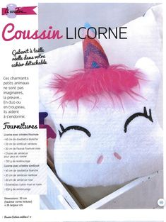 Coussin Licorne - Tuto et Patron Baby Corner, Blog Couture, Diy Crochet, Diy For Kids, Sewing Projects, Sewing Ideas, Diy And Crafts, Sewing Patterns, Kawaii