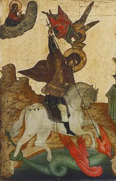 Detailed view: Saint George and the Dragon- exhibited at the Temple Gallery, specialists in Russian icons Jake And Dinos Chapman, Saint George And The Dragon, Saint Georges, Russian Icons, Jeff Koons, Contemporary Artists, Astronomy, Saints, Byzantine