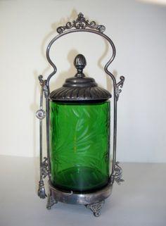 Aurora Green Glass Wheel Cut Pickle Castor Set