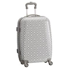 Hard-Sided Carry-On Spinner, Preppy Diamond Gray | PBteen