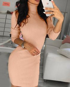 Solid High Neck Long Sleeve Bodycon Dress Women's Online Shopping Offering Huge Discounts on Dresses, Lingerie , Jumpsuits , Swimwear, Tops and More. Spring Outfits, Trendy Outfits, Fashion Outfits, Dress Fashion, Bodycon Dress With Sleeves, Buy Dress, Pattern Fashion, Casual, Dress Outfits