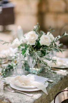 A lovely green and white table setting with white roses and rosemary. Chateau De Roussan St Remy Provence Wedding Venue With Joanne Flemming Dresses Fine Art Images From Jo Bradbury Photography French Wedding, Rose Wedding, Wedding Flowers, Wedding White, Dream Wedding, Destination Wedding, Wedding Venues, Wedding Planning, St Remy