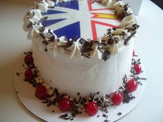 Black Forest cake with edible image of Newfoundland flag. cake with cherry filling topped with whipped cream, cherries and chocolate shavings. Newfoundland Flag, Newfoundland Recipes, Newfoundland And Labrador, Black Forest Cake, Chocolate Shavings, Baked Goods, Cake Ideas, Fun Stuff, Cake Decorating
