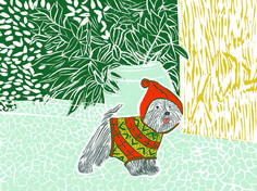 Dressed Dog in Red and Green by Moran Pinchas on Artfully Walls