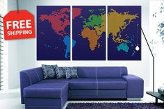 FREE SHIPPING  Multi panel world map. Canvas painting