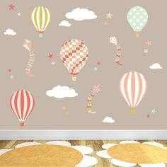 Hot Air Balloons, Kites, Clouds and Star Nursery Wall Art Stickers
