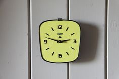 Vintage French Bayard Wall Clock Mechanical Mechanism Yellow Formica on Etsy, $147.32