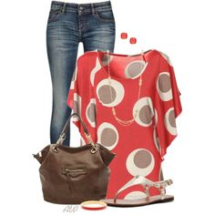 """Circle Print Top"" by amy-phelps on Polyvore"