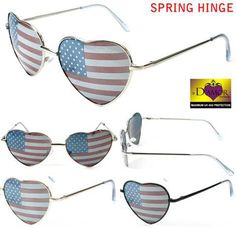 HEART SHAPED AMERICAN FLAG WOMEN SUNGLASSES ( sold by the piece or doz – Novelties Company