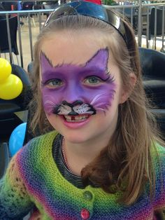 Purple cat face paint at Papamoa Palm Beach Plaza. Purple Cat, Cat Face, Palm Beach, Party Themes, Carnival, Creative, Projects, Painting, Log Projects