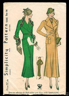Simplicity 1345 | ca. 1934 NRA Misses' Coat