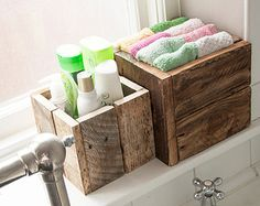 Caja de madera rústica paquete regalo Idea, almacenaje del cuarto de baño, jardín jardineras