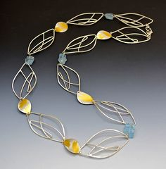 Aqua Leaf Necklace: Judith Neugebauer: Gold, Silver, & Stone Necklace | Artful Home