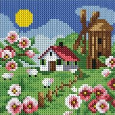 Kits Broderie diamants, Diamond Painting kits complet carrés de paysages. | C.S.M Waterfall Drawing, Cross Stitch House, Ribbon Embroidery, Hama Beads, Cross Stitching, Beading Patterns, Pixel Art, Needlepoint, Kit