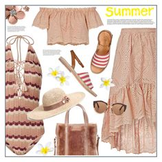 """""""Summer"""" by anne-irene ❤ liked on Polyvore featuring Suboo, LoveShackFancy, Allurez, Balenciaga, n.d.c., Marni, stripes, onepieceswimsuit, summerhat and summer2017"""