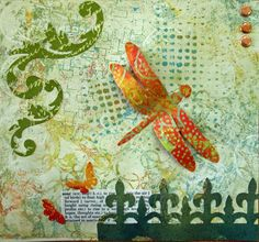 Wendy Southin - I think the favourite part of doing these for me was the background. They were all done with my Gelli Plate. Once I got started making pages for these backgrounds it was hard to stop. I ended up doing both sides of the pages and had lots of extras. Now I just have to figure out what to create with all the extra.