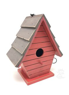 Decorative Bird Barn Red House Wooden Chain Hanger Rustic New