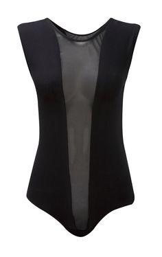 Ladies Sheer Mesh Insert Panel Bodysuit Womens Sleeveless Leotard Size 8-14