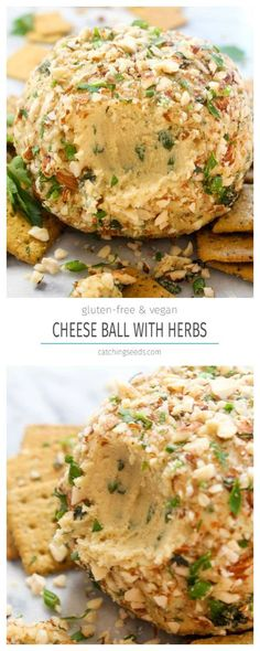 This Vegan Cheese Ball recipe with Herbs is a make-ahead party appetizer that is sure to please a crowd! It is rich, creamy, spreadable, and full of fresh herb flavor.   CatchingSeeds.com