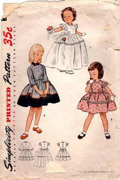 década de 1950 costura Vintage simplicidad 3725 patrón de Vestido fiesta niña, fiesta falda vestido, completo talla 3