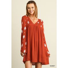 UmGee Embroidered V-Neck Peasant Dress ($39) ❤ liked on Polyvore featuring dresses, sunset, embroidered peasant dress, v neckline dress, peasant dress, straight dress and red dress