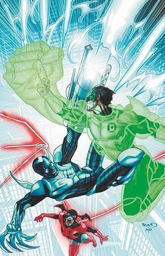Green Lantern and Red Lantern vs. Blue Beetle