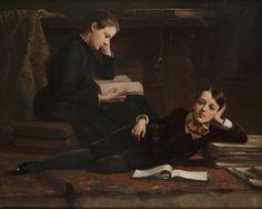 The Artist's Children Reading. Charles H. Turner (American, 1848-1908). Oil on canvas. Boston Athenæum.