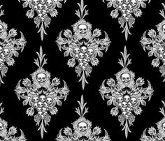 Skull Flower damask - Negative fabric by jwitting on Spoonflower - custom fabric