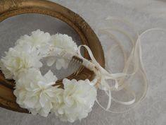 Ivory Bridal Flower Crown. Custom Wedding Accessories - Blissful Bouquets™ by Edy & Custom Wedding Accessories #hairweath,#crown,#wedding