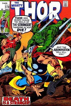 For sale marvel comics thor 178 john buscema artwork silver age emorys memories. Comic Book Pages, Comic Book Artists, Comic Book Covers, Comic Book Characters, Marvel Characters, Comic Character, Marvel Comic Books, Marvel Dc Comics, Comic Book Heroes