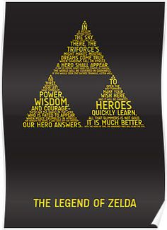 The Legend of Zelda, Typographic Triforce Design The Legend Of Zelda, Legend Of Zelda Quotes, Link Zelda, Typographic Poster, Typography Art, Midna, Wind Waker, Twilight Princess, Vintage T-shirts