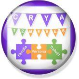 La chapa de la celebración de aniversario #CRYA12meses