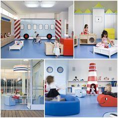 Kindergarten in Tel Aviv 4 Daycare Design, Playroom Design, Kids Play Area, Kids Room, Childcare Rooms, Kids Cafe, Kindergarten Design, Toddler Classroom, Playground Design