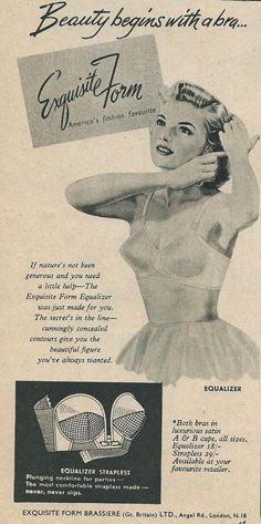 1950's bra advert Vintage Underwear, Vintage Lingerie, 1950s Ads, Beautiful Figure, Hosiery, Advertising, Printable, Bra, Beauty