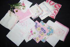 Vintage Hankies Sunny Pink Bouquet by CheekyVintageCloset on Etsy, $34.50