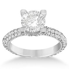 18k Gold Eternity Pave Set Trio Diamond on Crown Engagement Ring for Women Setting
