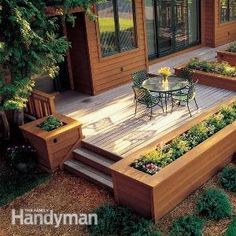 How to Build the Deck of Your Dreams. Nice finish with the planters. Note how many of these ideas and instructions are from the same repair/DIY Reader's Digest site - can always rely on them.