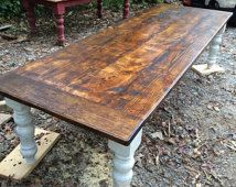 10 foot rustic farmhouse table by WellsWorksFurniture on Etsy Patio Furniture For Sale, Rustic Furniture, Handmade Furniture, Farmhouse Furniture, Furniture Design, Rustic Farmhouse Table, Rustic Patio, Farmhouse Ideas, Farmhouse Chic