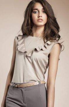 Look what I found on Beige Ruffle Sleeveless Top Top Mode, Style Masculin, T Shirts Uk, Blouse Models, Preppy Style, Classy Outfits, Classy Clothes, Fashion Outfits, Womens Fashion