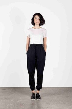 boxy t-shirt + high-waisted tapered loose pants + oxfords