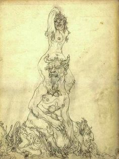 """substrom: """" Austin Osman Spare *from The Book Of Ugly Ecstasy """" Austin Osman Spare, Weird Creatures, Fantasy Creatures, Automatic Drawing, Occult Art, English Artists, Yellow Art, Portraits, Rita Hayworth"""