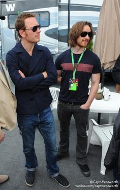 Michael Fassbender and James McAvoy at the Montreal F1 GP, 2013