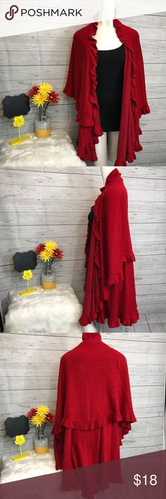 Love Couture OS red sweater cape ruffles soft Pre-owned Love Couture one size fits most, red sweater cape with inner arm holes. Soft. 100% Acrylic Measurements are approximate. Please read closet rules about all sales. Love Culture Sweaters Shrugs & Ponchos