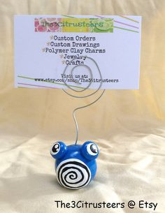 Handmade Polymer Clay Pokemon Poliwhirl Wire by The3Citrusteers