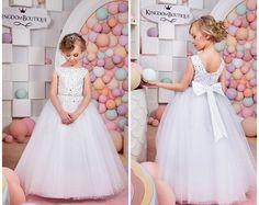 Elfenbein Blumenmädchen Kleid Hochzeitsfeier von Butterflydressua
