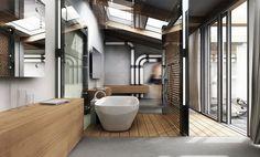 Фотогарфия интерьера ванной комнаты в стиле лофт