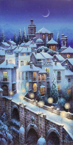 H : photo christmas scenes, christmas art, winter christmas, snow scenes Winter Szenen, Winter Magic, Winter Holidays, Christmas Scenes, Christmas Art, Winter Christmas, Christmas Illustration, Illustration Art, Illustrations