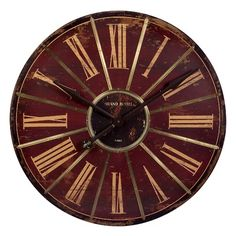 Features:  Product Type: -Oversized.  Finish: -Oak.  Shape: -Round.  Primary Material: -Wood.  Numbered Clock: -Yes.  Operating Mechanism: -Mechanical.  Life Stage: -Adult.  Number Type: -Roman numera